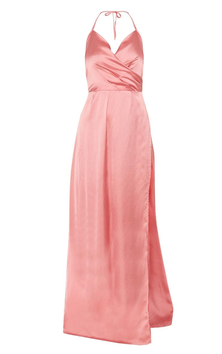 Robe longue fendue satinée vieux rose 3