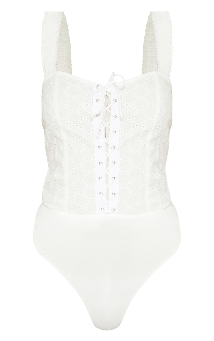 White Broderie Anglaise Lace Up Bodysuit 3