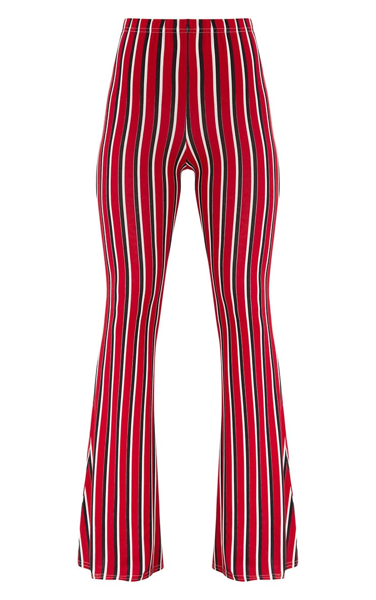 Red Jersey Vertical Stripe Flared Trousers 3