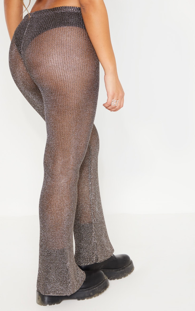 Pewter Metallic Knitted Flares 4