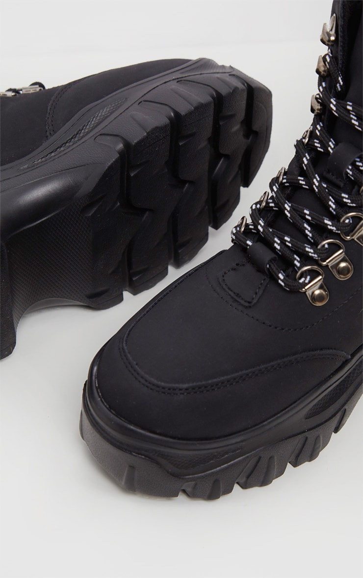 Black Faux Fur Detail Chunky Hiker Boot 5