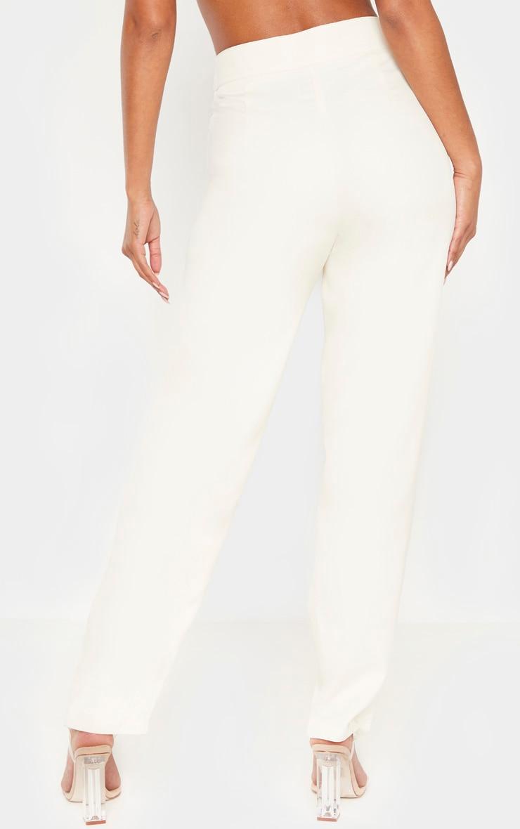 Cream Buckle Detail  Straight Leg Pants  4