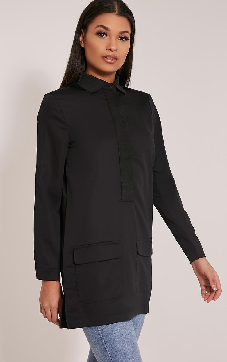 Hana Black Pocket Detail Oversized Longline Shirt 3