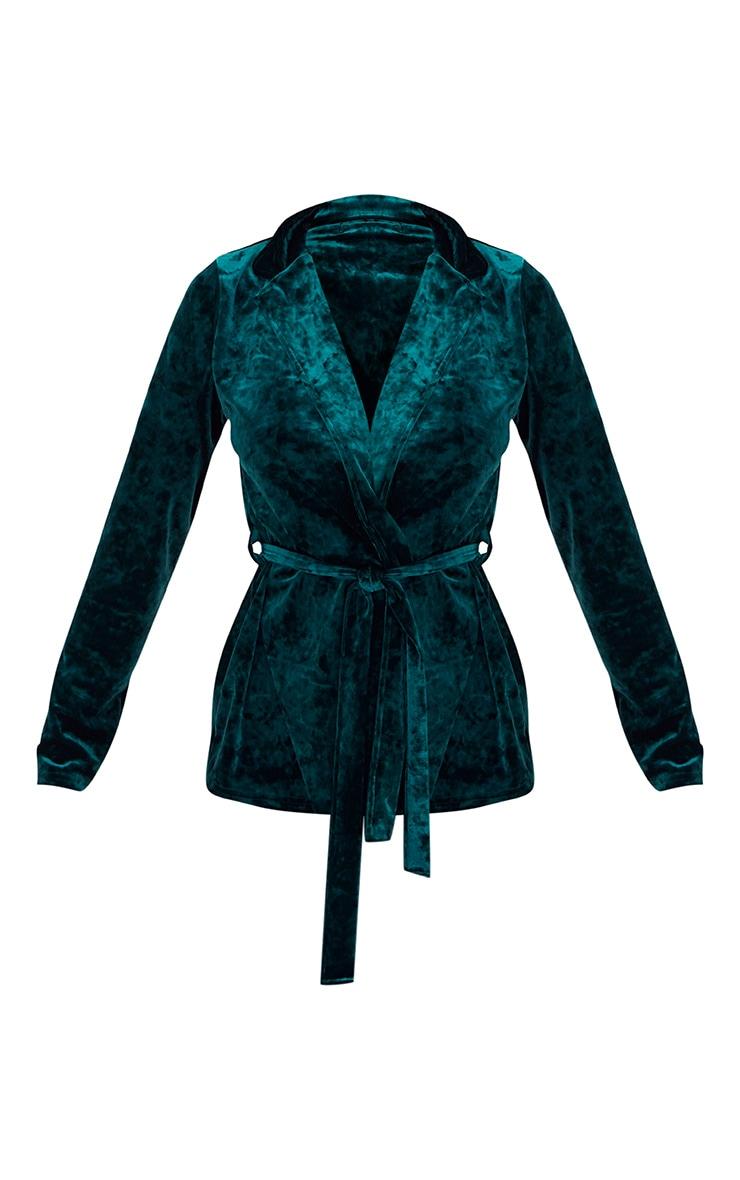 Emerald Green Crushed Velvet Belted Blazer 3