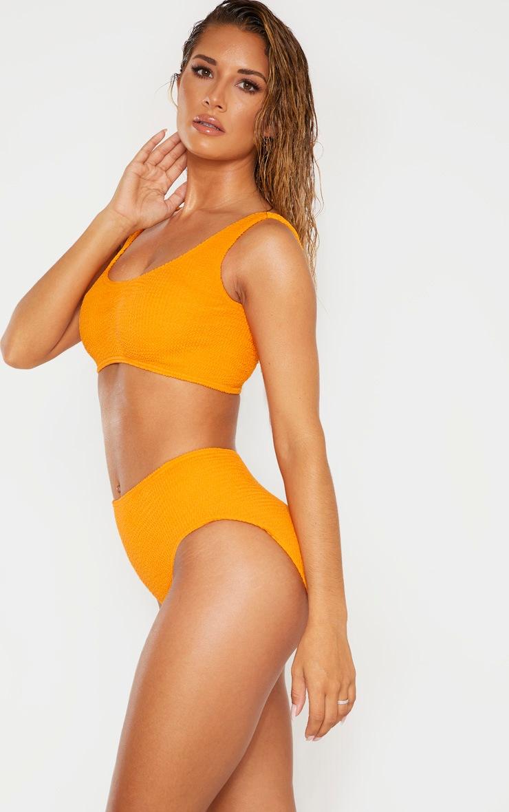 Orange Crinkle High Waist Bikini Bottom 3