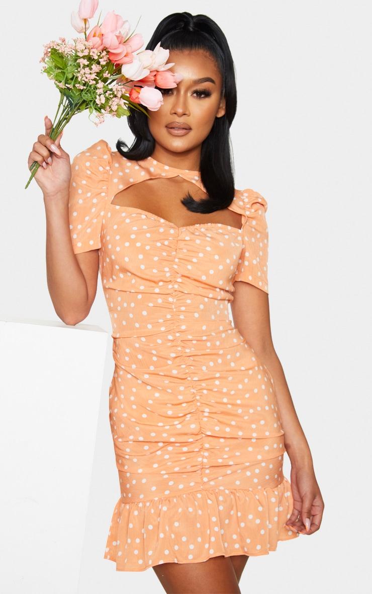 Orange Polka Dot Cut Out Ruched Bodycon Dress 1
