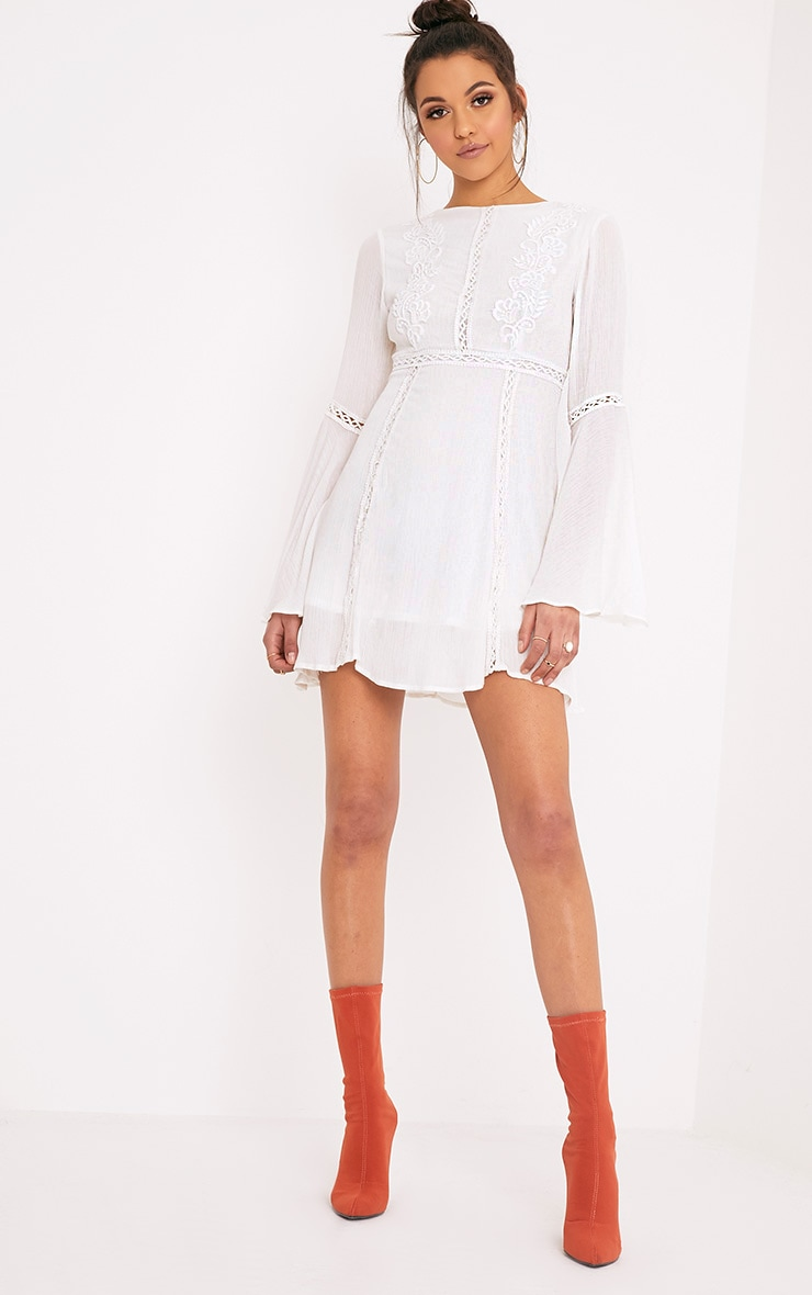 Karmen White Crochet Lace Insert Swing Dress 4