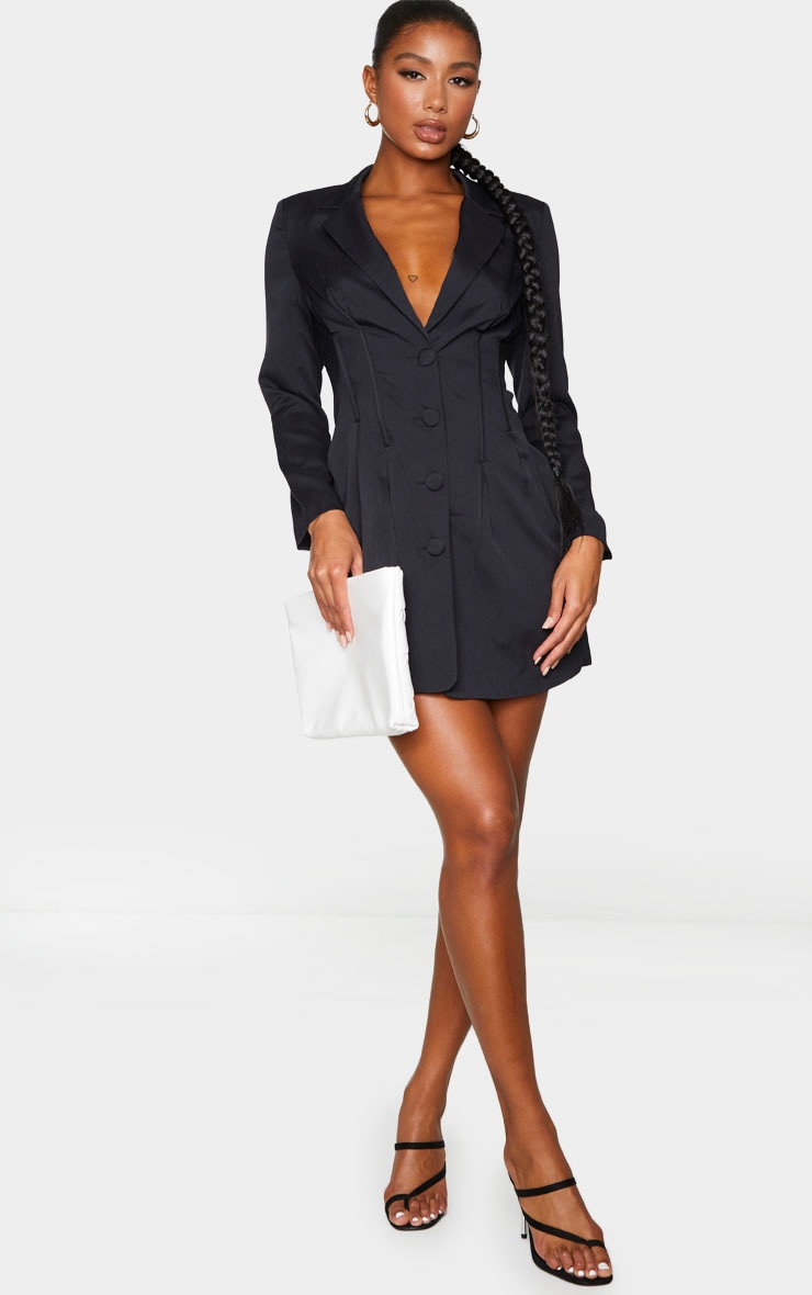 Black Woven Waist Binding Detail Blazer Dress 3