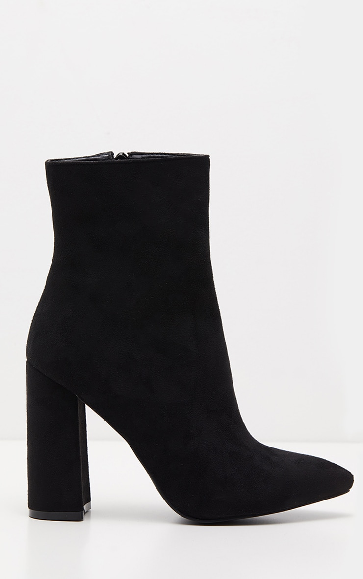 Black Faux Suede High Point Ankle Boot 3