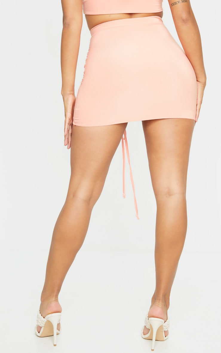 Shape Peach Slinky Ruched Front Bodycon Skirt 3