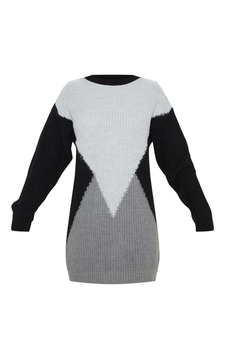 Charcoal Colour Block Knitted Jumper Dress 3