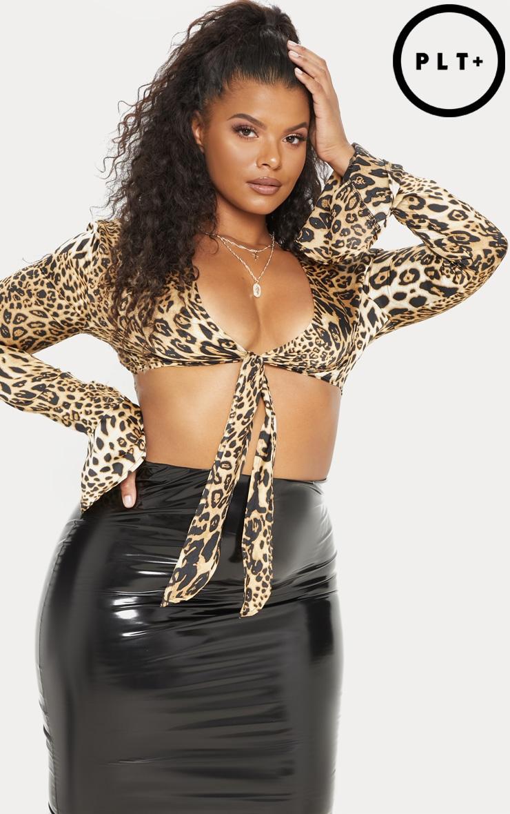 Plus Tan Leopard Print Frill Sleeve Crop Top 1