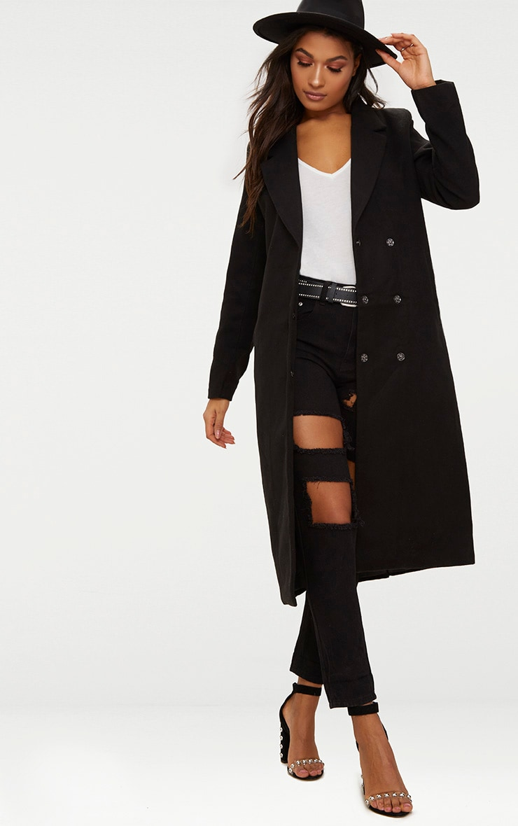 Black Longline Double Breasted Coat