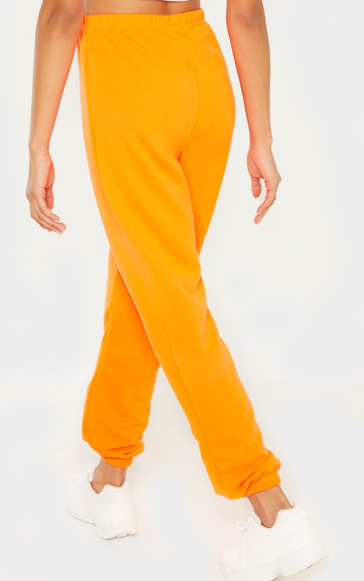 Neon Orange Basic Cuffed Hem Track Pants 3