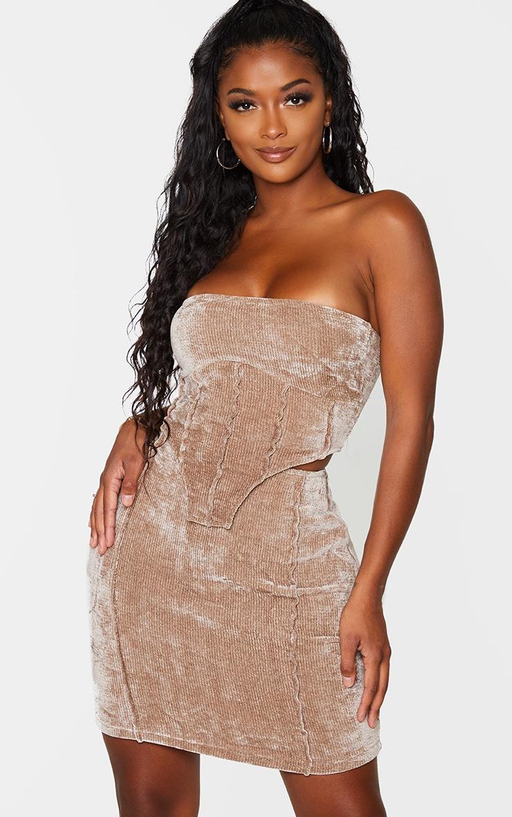 Shape Brown Rib Velour Seam Detail Bodycon Skirt 4