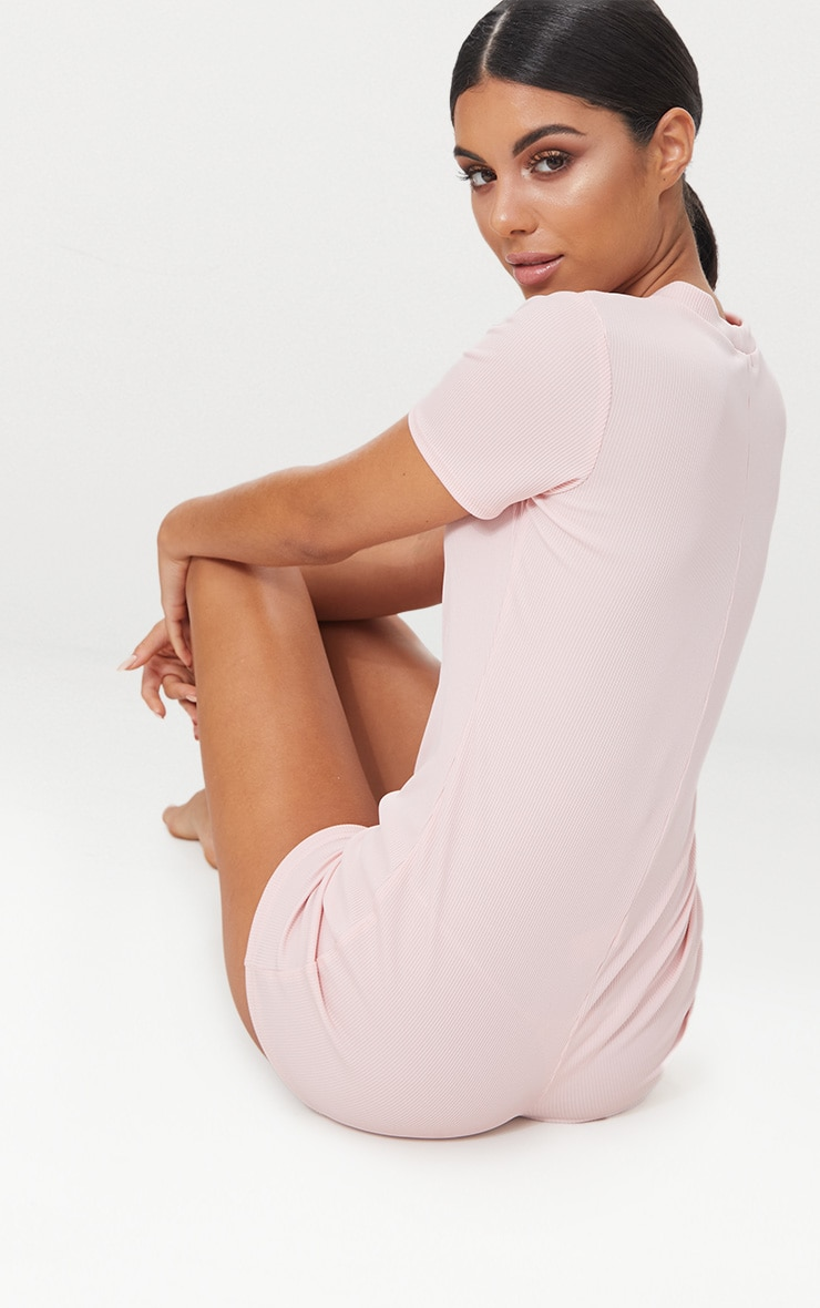 Pale Pink Ribbed Button Detail Short Sleeve PJ Romper 2