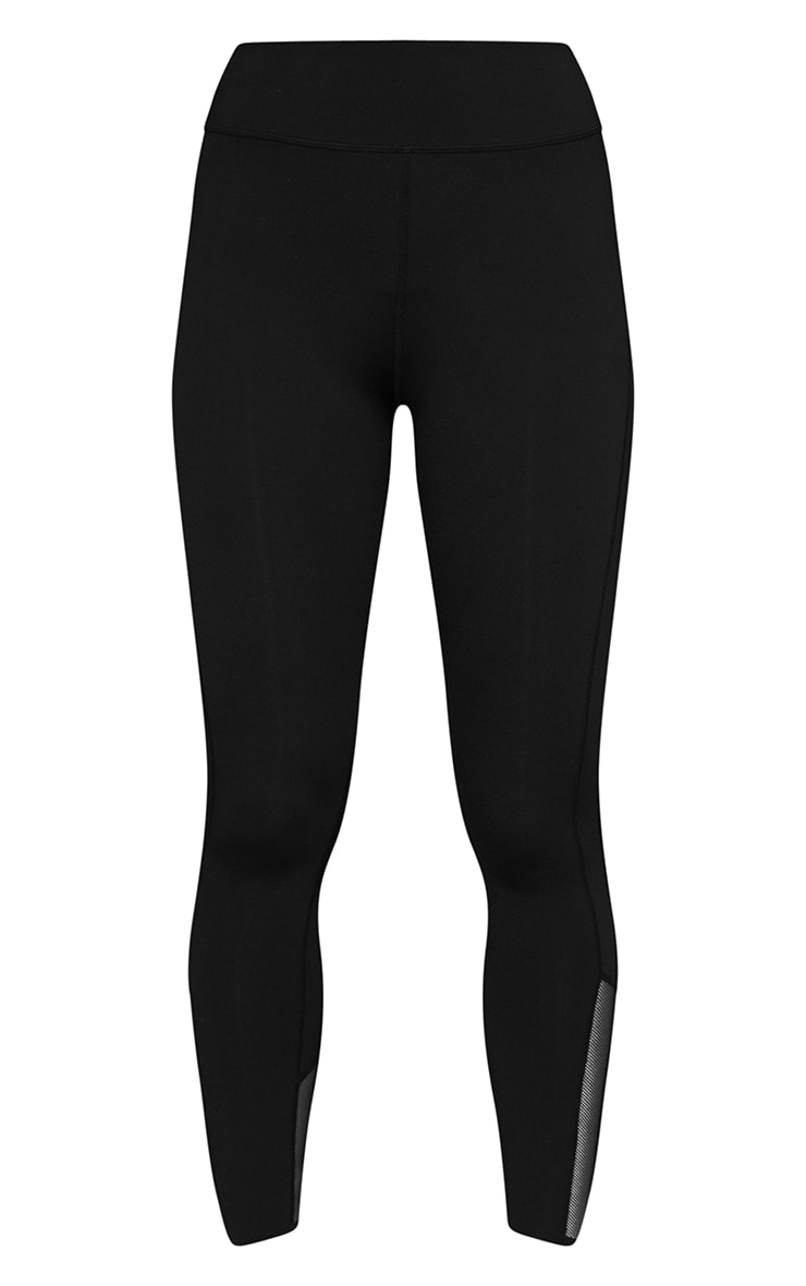 Black Brushed Luxe Mesh Insert Gym Leggings 5