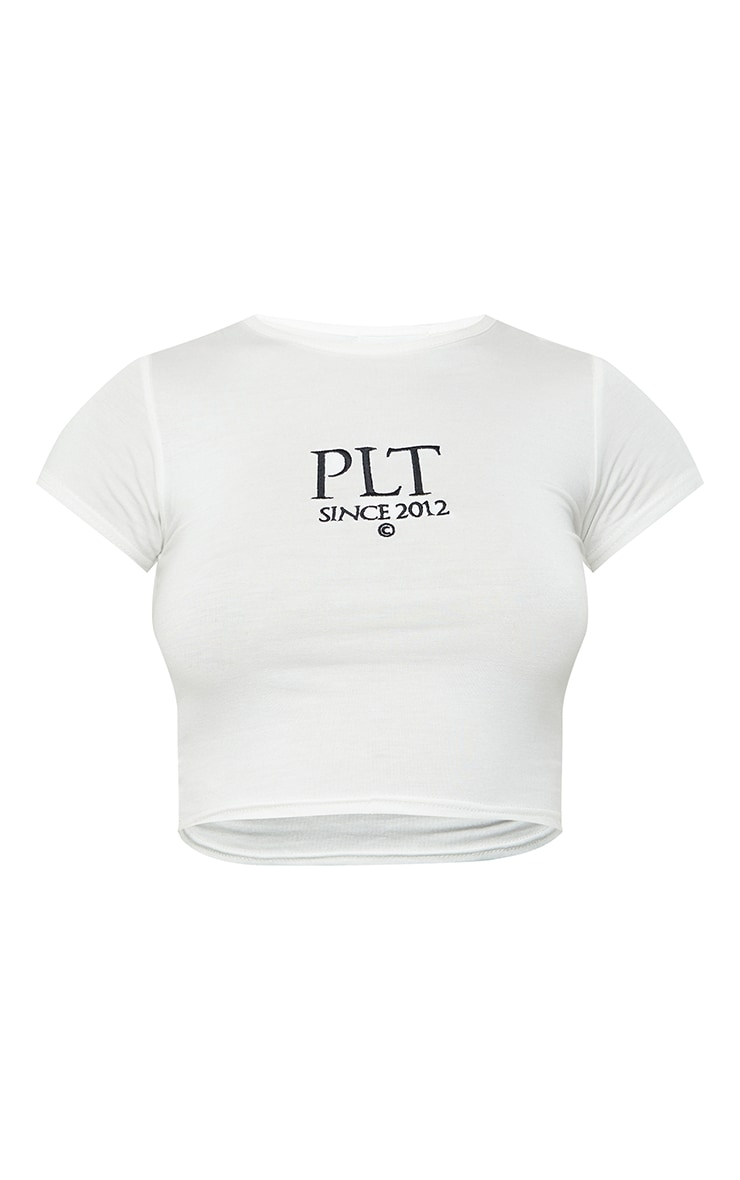 PRETTYLITTLETHING Cream Established Slogan Short Sleeve Crop T Shirt 5