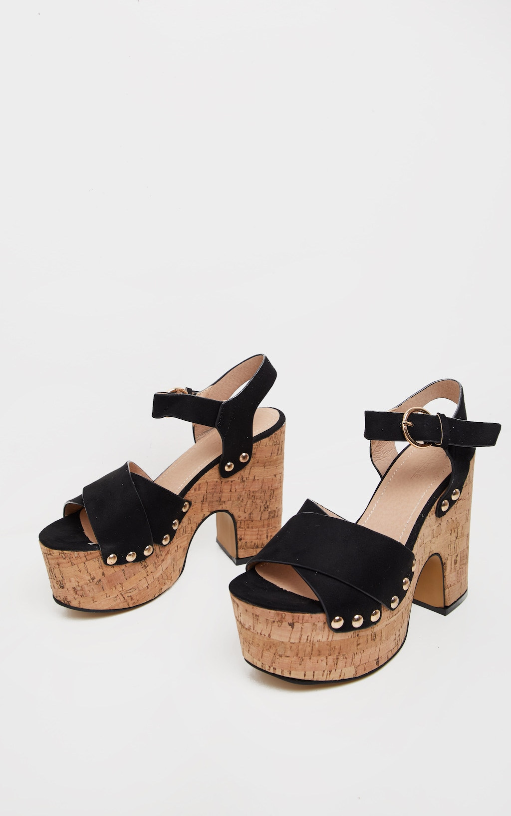 d5ded6f0a6 Black Cork Studded Platform Sandal | Shoes | PrettyLittleThing USA