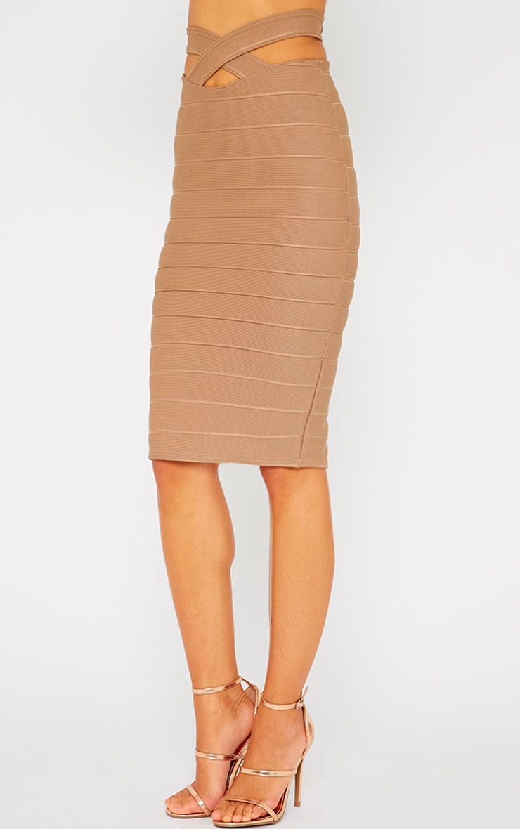 Jaimie Mocha Cut Out Bandage Midi Skirt 4