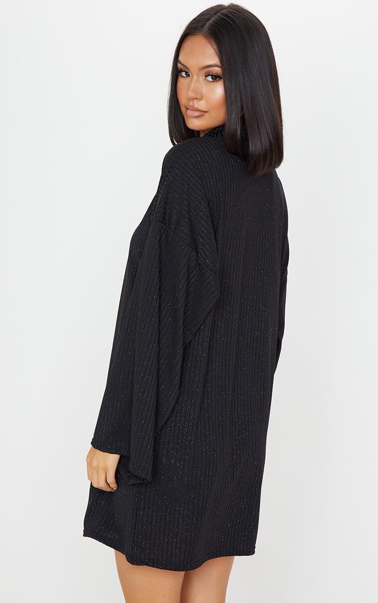 Black Glitter Rib Roll Neck Flare Sleeve Jumper Dress 2