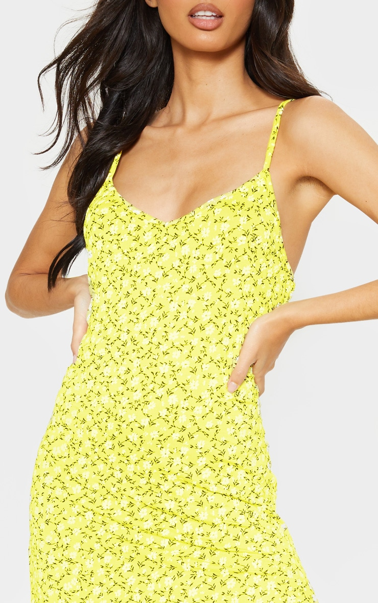 Yellow Ditsy Floral Jersey Split Midi Dress 5