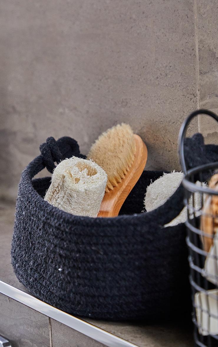 Black Medium Cotton Rope Storage Basket 2