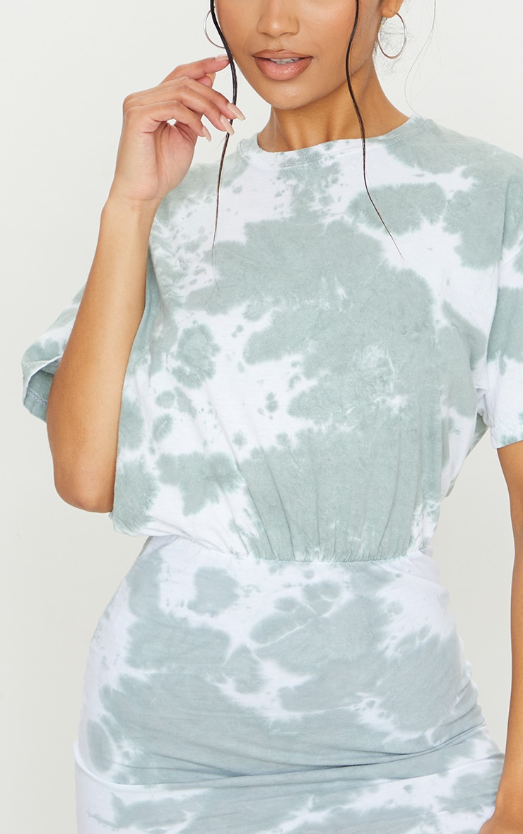 Sage Green Tie Dye Elastic Waist T Shirt Dress 4