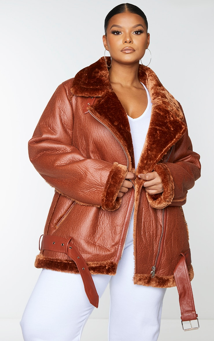 Plus Camel Oversized PU Aviator 1