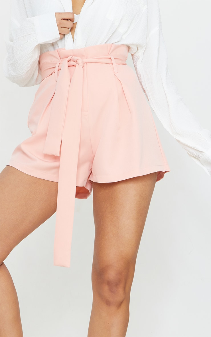 Blush Woven Paperbag Tie Waist Shorts 5