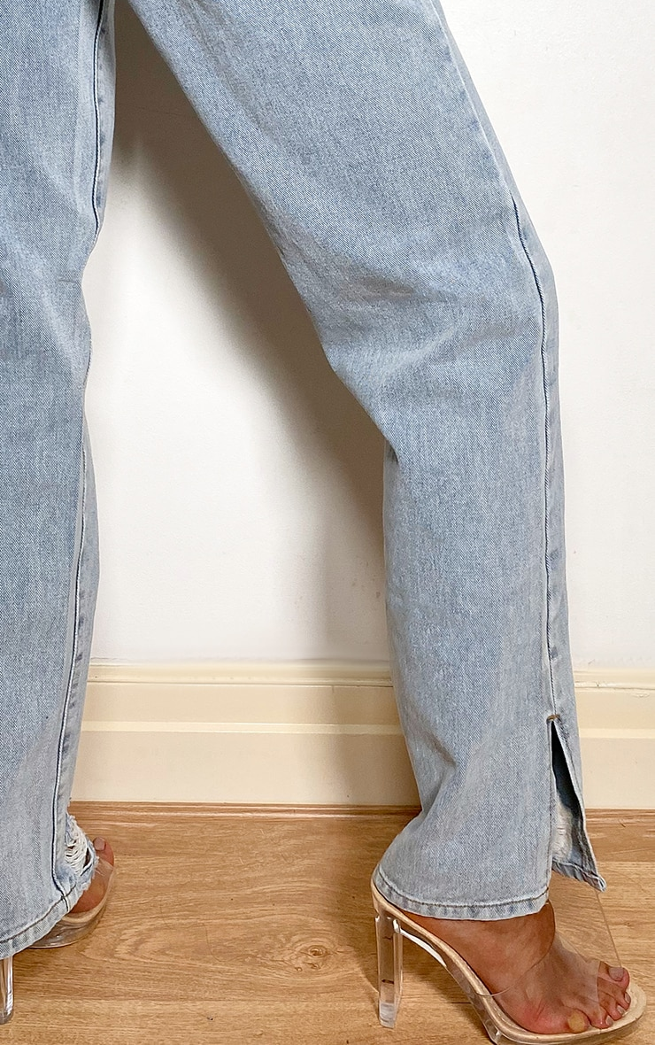 Light Blue Wash Distressed Split Hem Straight Leg Jeans 4