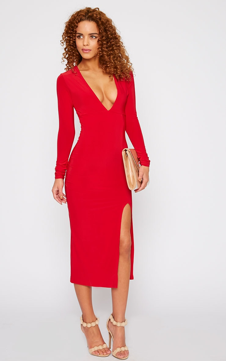 Christa Red Slinky Plunge Split Front Midi Dress-4 1