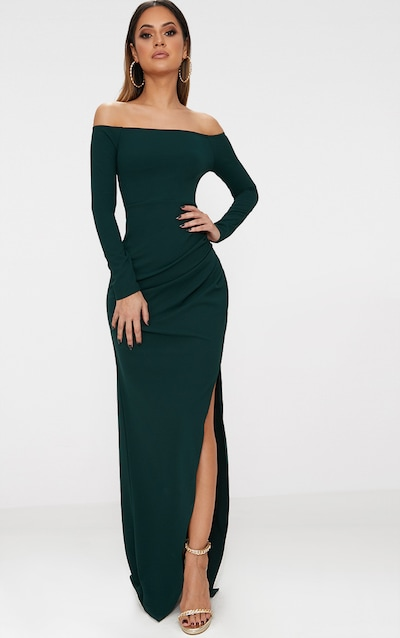 00328e99aa72 Emerald Green Wrap Over Long Sleeve Bardot Maxi Dress