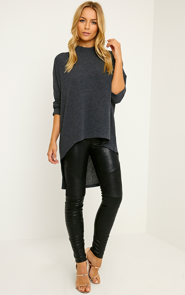 Pryah Grey Fine Knit Drop Hem Top 3