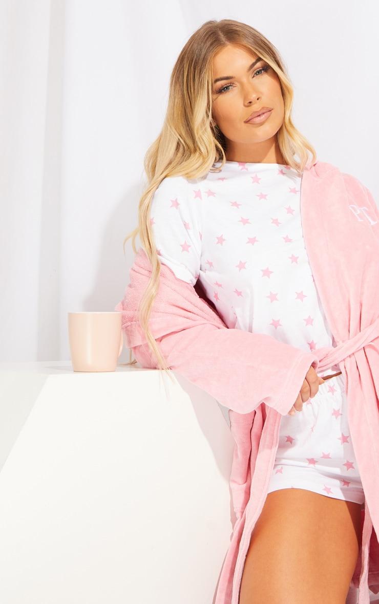 Baby Pink Star Print Short Cotton Pj Set 4