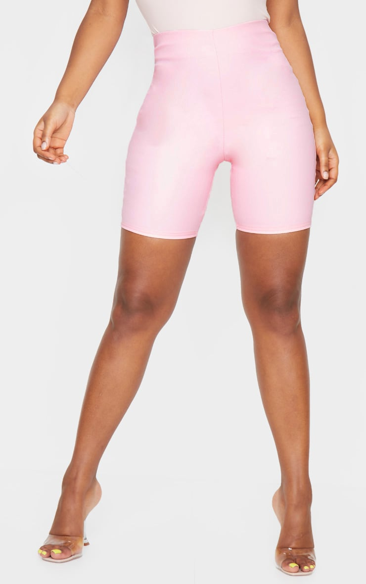 Baby Pink Faux Leather Cycle Shorts 2