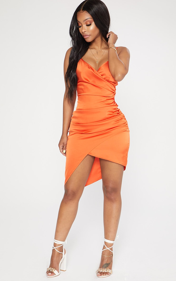 Shape Tangerine Satin Wrap Dress 4