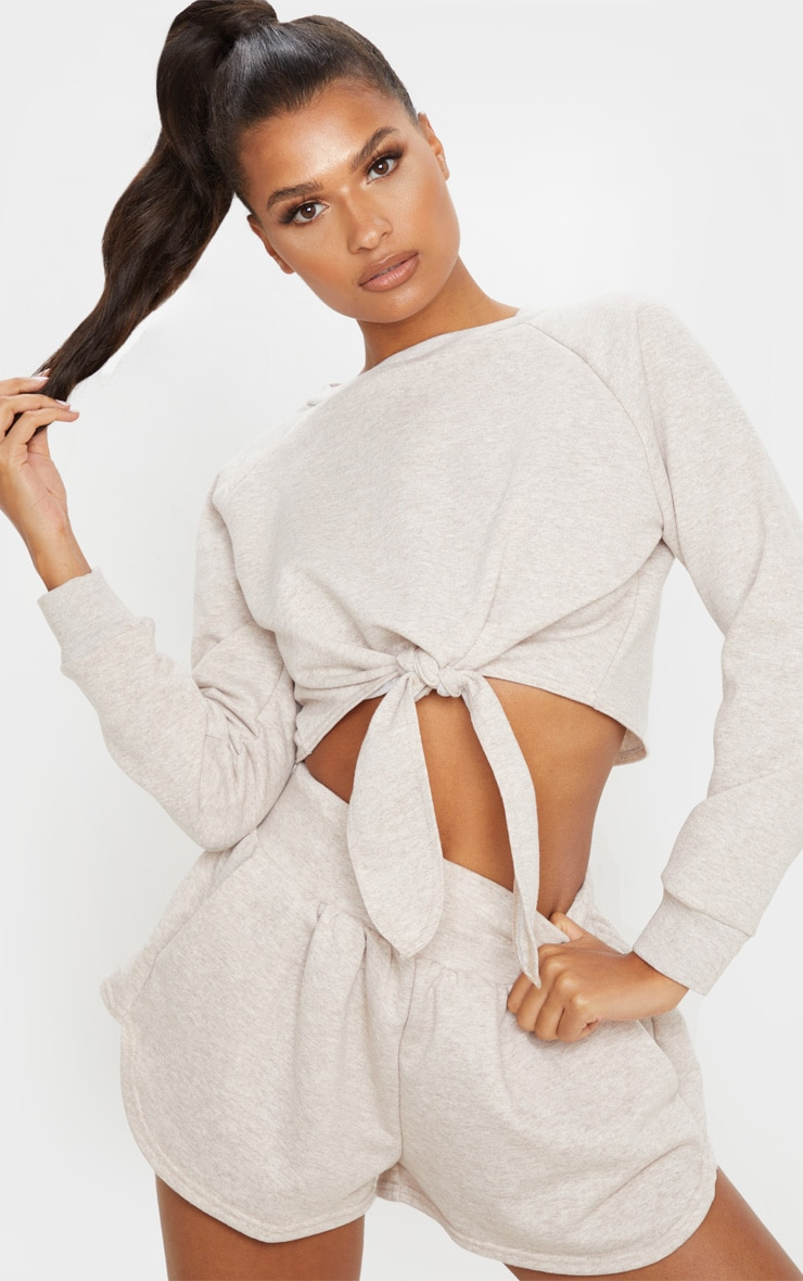 Stone Marl Tie Front Cropped Sweat 1
