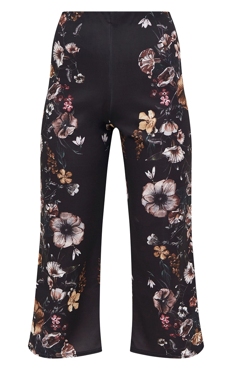 Black Floral Placement Culottes 3