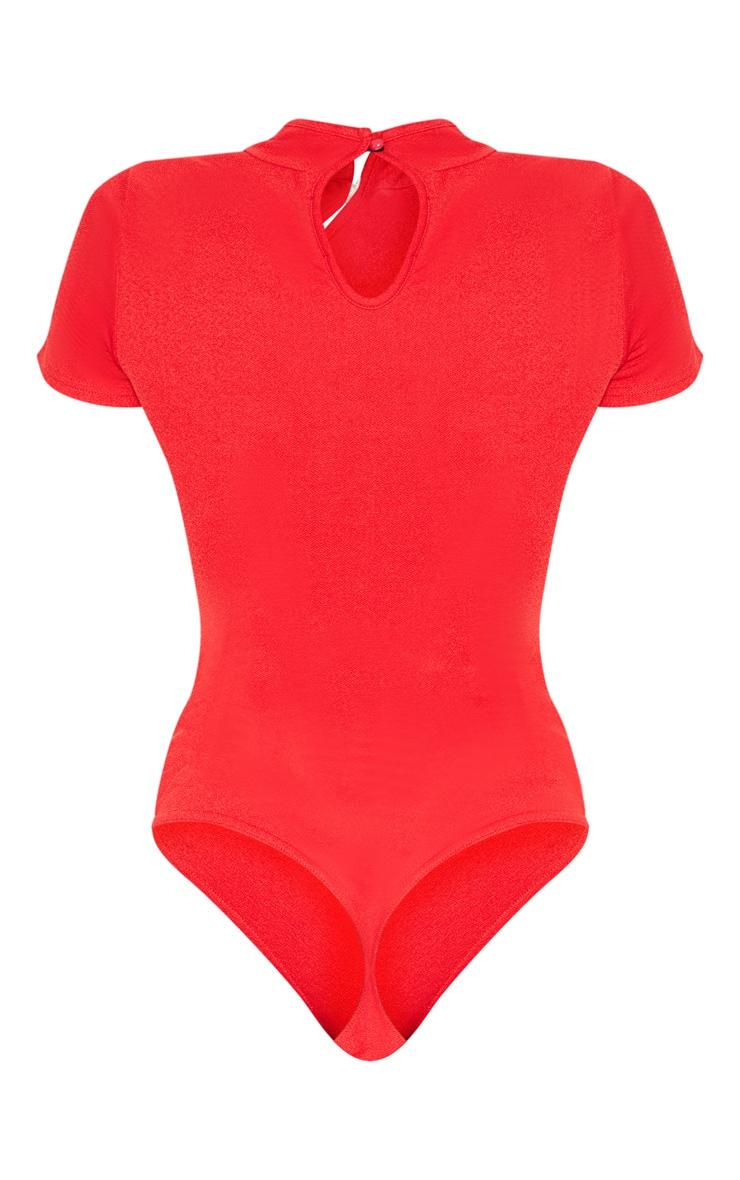 Red Oriental Trim Short Sleeve Bodysuit 4