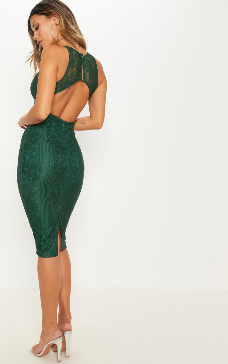 Emerald Green Plunge Lace Open Back Midi Dress 2