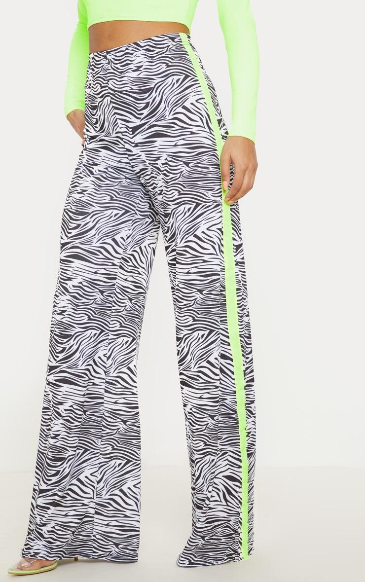 Zebra Printed Contrast Side Stripe Wide Leg Trouser 2