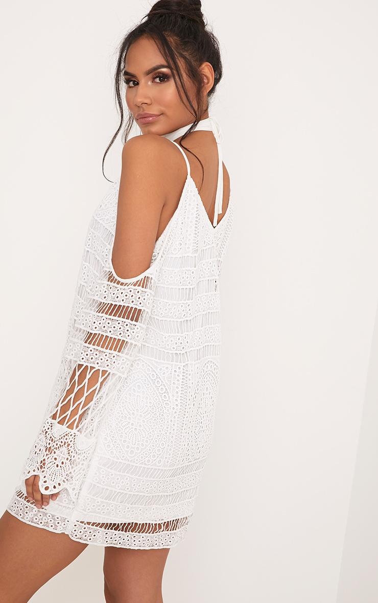 Nina White Lace Cold Shoulder Tie Neck Shift Dress 2