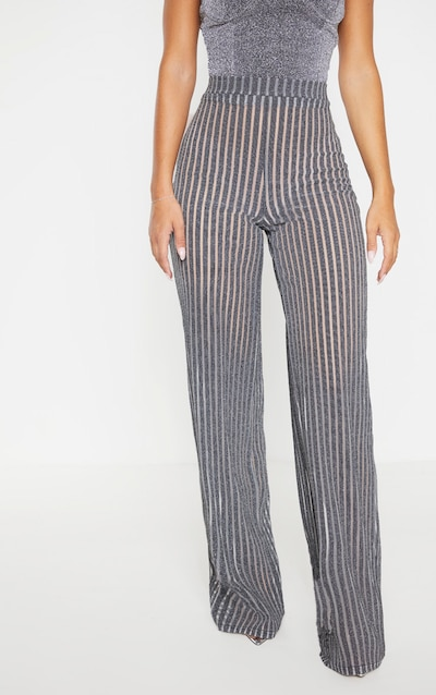 Silver Metallic Stripe Detail Wide Leg Trouser
