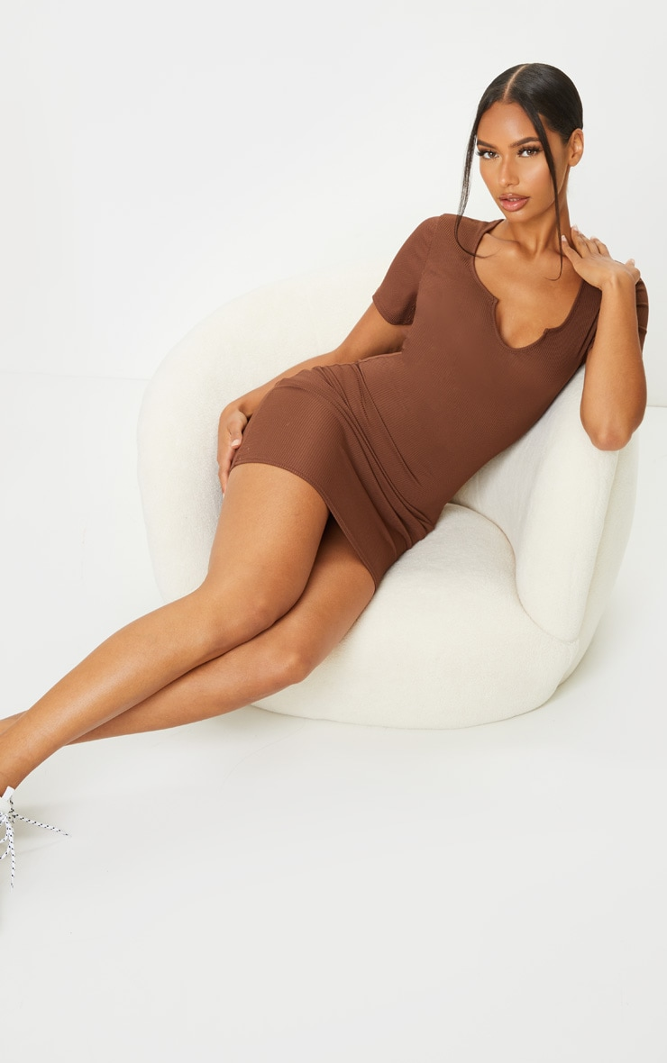 RECYCLED Chocolate Rib Short Sleeve Split Neck Bodycon Dress 3