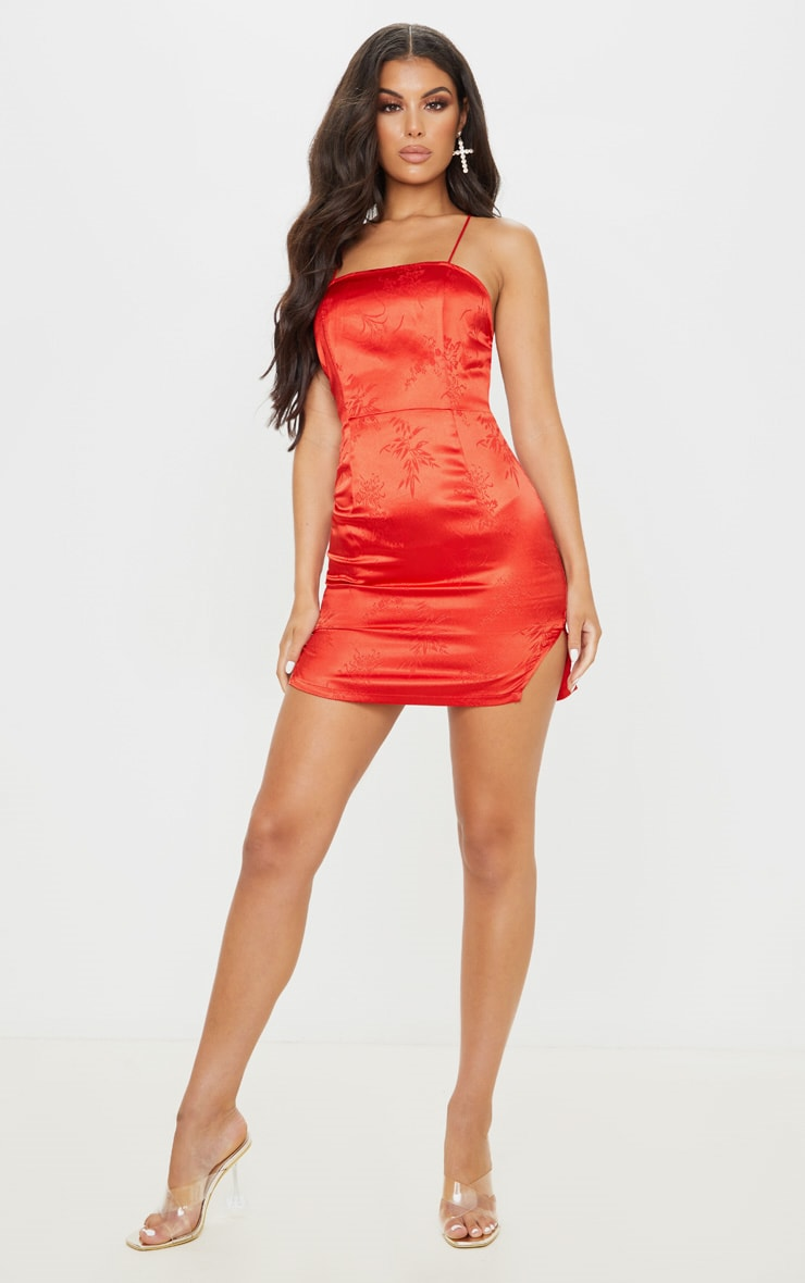 Red Satin Oriental Lace Up Back Bodycon Dress 4