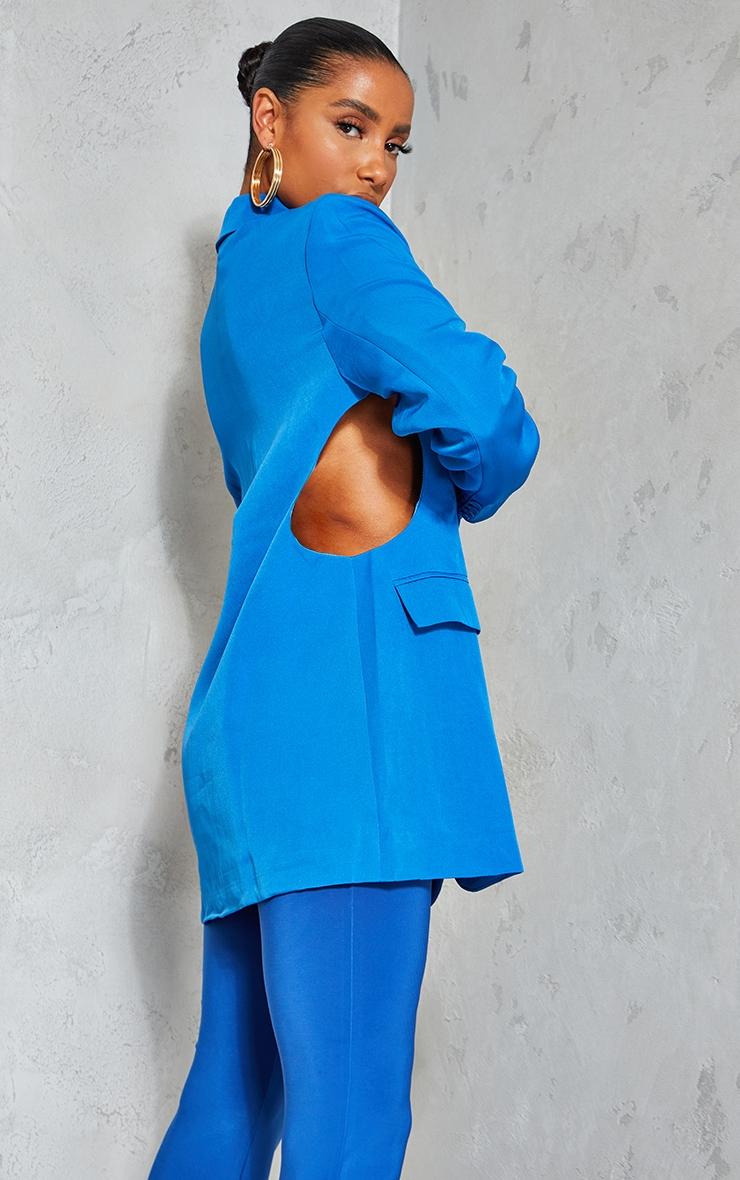 Blue Woven Cut Out Oversized Blazer 2