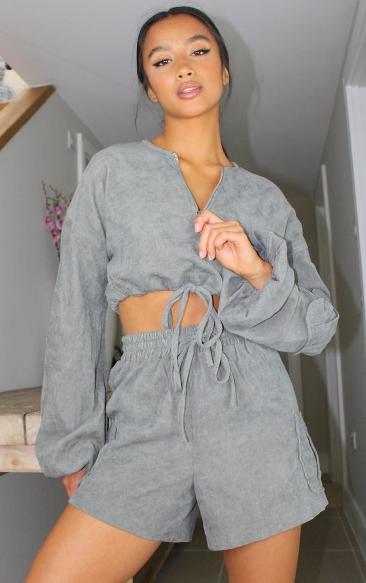 Petite Grey Light Weight Cord Half Zip Long Sleeve Pullover 1