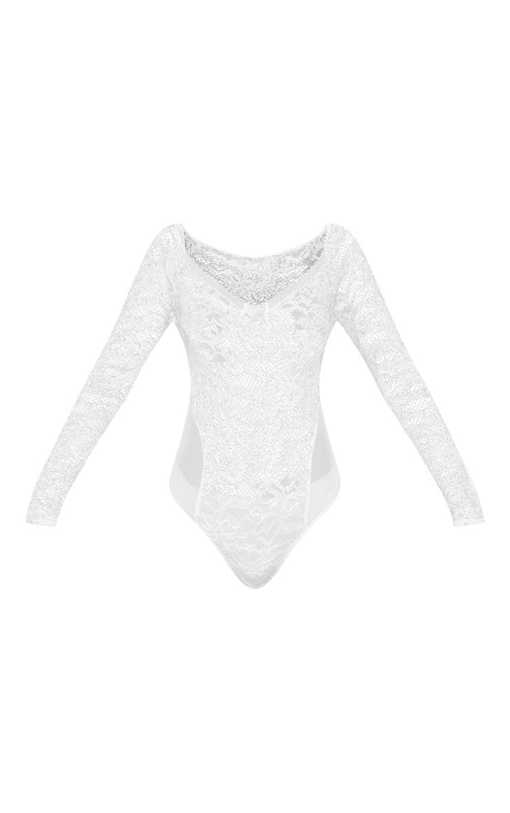 White Lace Mesh Long Sleeve Bodysuit 3