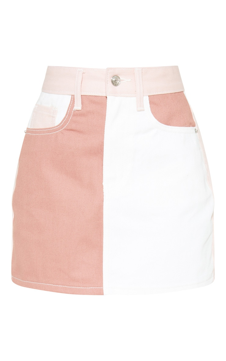 Multi Colour Block Denim Skirt 3